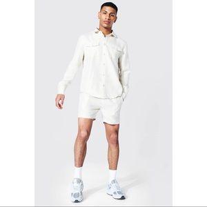 Boohoo Ecru Boucle Co-rd Shorts and Shirt Set XL